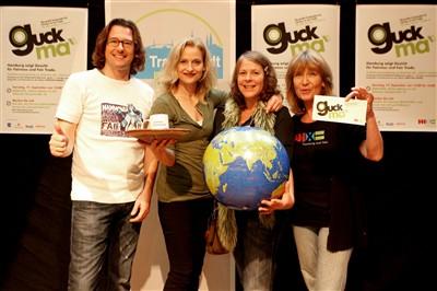 Das Guck-ma Team: Christoph Siegert, Christina Leitow, Friderike Seithel (v.l.n.r.) mit Schauspielerin Mignon Remé (2.v.l.)