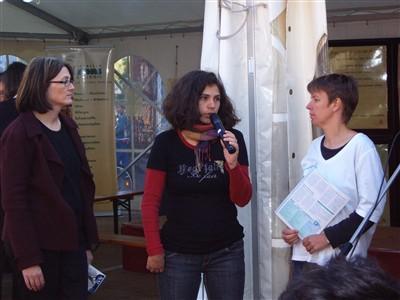 Diskussion zum Thema Naturtextilien mit Heike Scheuer (IVN), Alexandra Perschau (PAN Germany) und Anneheide von Biela (CCC).